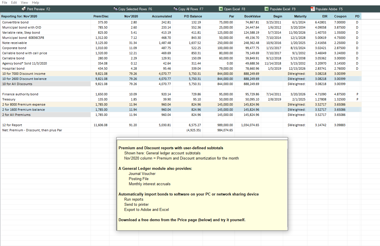 bond accounting software using level yield  effective